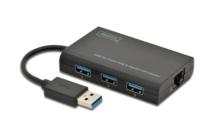 Digitus USB 3.0 3-Port Hub & Gigabit LAN Adapter