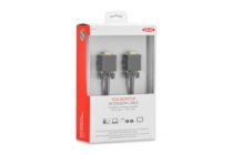 VGA Premium Monitor extension cable, HD15, M/F, 1.8m, 3Coax/7C, 2xferrite, UL, bl, cotton, gold