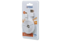 Manhattan Flat Micro USB Cable A Male to Micro B Male 1.8m (6Ft) White