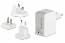 Universal Travel Charger Set (EU/UK/US), 2x USB Ports with •3 exchangeable charging adapter (EU/UK/US) for more than 100 countries