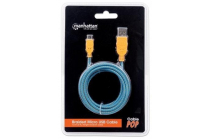 Braided Micro-USB Cable A Male / Micro-B Male, 1.0m (3Ft.), Orange / Blue
