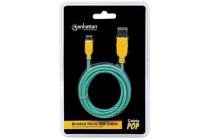 Braided Micro-USB Cable A Male / Micro-B Male, 1.0m (3 Ft), Teal/Yellow