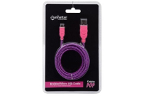 Braided Micro-USB Cable A Male / Micro-B Male, 1.0 m (3 ft.), Purple / Pink