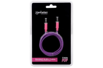 Braided Audio Cable 3.5mm Stereo Male to Male, Purple / Pink, 1 m (3 ft.)