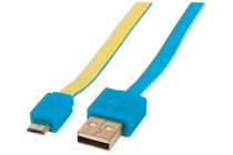 Flat Micro-USB Cable 1.8m (6Ft) Blue/Yellow