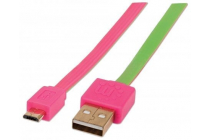 Flat Micro-USB Cable 1.8m (6Ft) Pink/Green