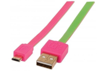 Flat Micro-USB Cable 1 m (3 ft.) Pink/Green