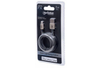 MH CERTIFIED Lightning plug to USB A plug, Nylon Braiding, Gold, 1 m, Blister