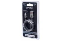 MH CERTIFIED Lightning plug to USB A plug, Nylon Braiding, Dark Grey, 1 m, Blister