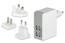 Universal Travel Charger Set (EU/UK/US), 4x USB Ports with •3 exchangeable charging adapter (EU/UK/US) for more than 100 countries