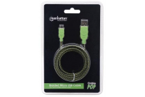 Braided Micro-USB Cable A Male / Micro-B Male, 1.8 m (6 ft.), Black / Green