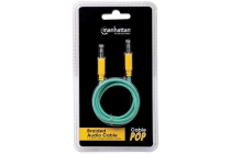 Braided Audio Cable 3.5mm Stereo Male to Male, Teal / Yellow, 2 m (6 ft.)