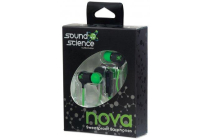 Sound Science Nova Sweatproof Earphones Lightweight with In-Line Mic, Black-Green