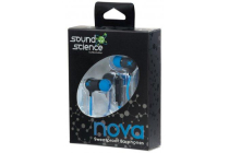 Sound Science Nova Sweatproof Earphones Lightweight with In-Line Mic, Black-Blue