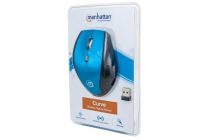 Curve Wireless Optical Mouse USB, Five Button with Scroll Wheel, 1600 dpi, Blue/Black