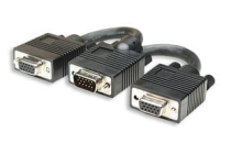 MH Video Splitter cable. VGA MALE- 2xVGA FEMALE black 15cm.