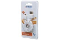 Manhattan Flat Micro USB Cable A Male to Micro B Male 1m (3Ft) White