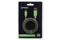 Braided 1m Micro-USB Cable A Male / Micro-B Male, 1.0 m (3 ft.), Black / Green