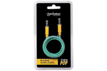 Braided 2m Audio Cable 3.5mm Stereo Male to Male, Teal / Yellow, 2 m (6 ft.)