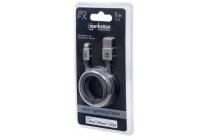 Apple CERTIFIED 1m Lightning plug to USB A plug, Nylon Braiding, Dark Grey, 1 m, Blister