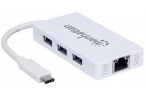 Type-C to 3-Port USB 3.0 Hub with Gigabit Network Adapter