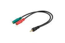 Sound Converter 3.5mm 4 pin Male to 2 x 3.5mm 3 pin F