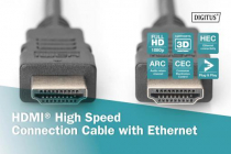 DIGITUS 2m HDMI High Speed with Ethernet Connection Cable in Polybag